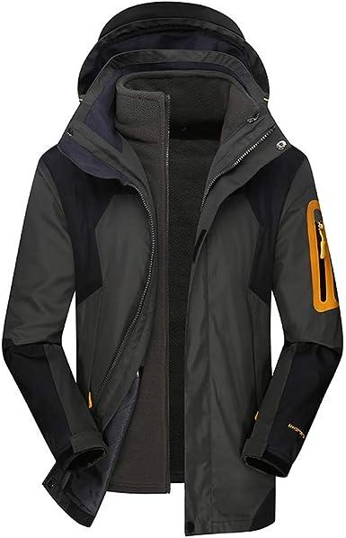Mens Winter Hoodie Two Piece Three in One Warm Waterproof Windproof Outdoor Coat