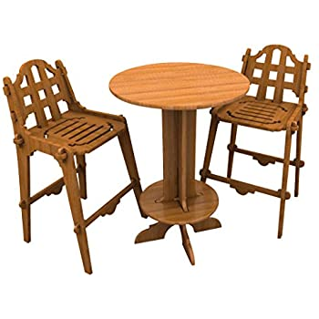 Bamboo Bar Set (1 High Top Table and 2 Chairs), Palladian Style Furniture