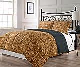 Cozy Beddings BH5012-K Animalia Reversible Down Alternative Animal Print Comforter Set, King, Brown/Grey