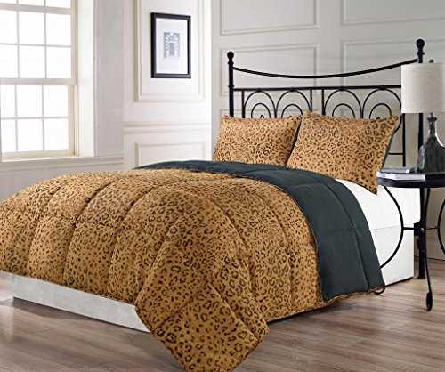 Animalia 3pc Reversible Down Alternative Brown, Black Animal Print Comforter Set King Size Bed (Animal Print Comforter Sets King)
