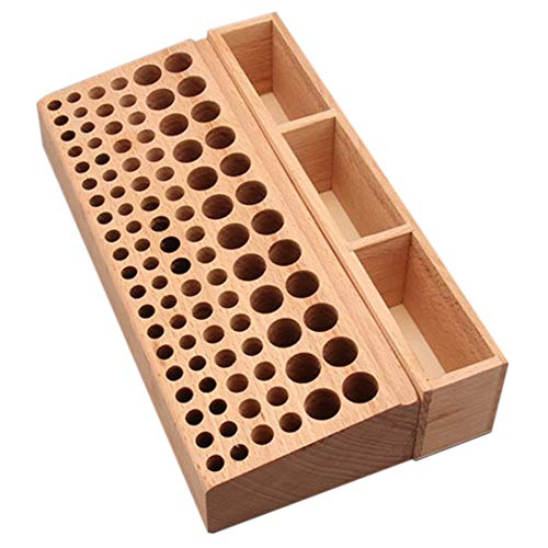 Yushen Upgraded 98 Holes Wooden Professional Leathercraft Tool Holder Rack Stand with 3 Slot for Leather Working Making Punch Tools Organizer Storage