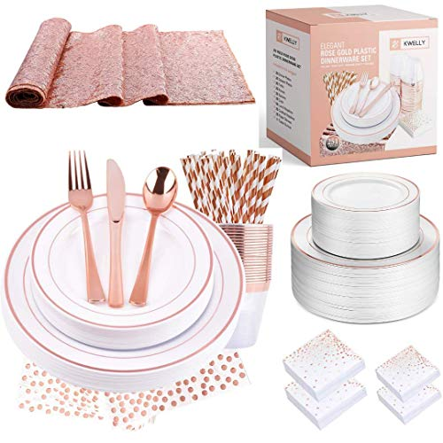 Disposable Plastic Tableware Set | Includes Plates, Cutlery, Table Runner, Napkins, Cups & Paper Straws for Dinner, Party, Bridal Shower, Birthday & Christmas | 251 Pieces Rose Gold Fancy Silverware