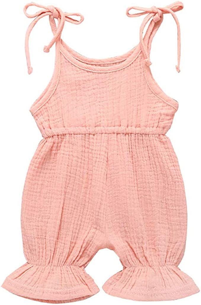 Toddler Kids Baby Girls Ruffle Sleeve Pink Harem Romper Jumpsuit Outfit Cute Summer Clothes
