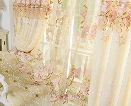 AliFish Home Decor European Sheer Curtains Delicate Patoral Sheer Panels Floral Embroidered Rod Pocket Tulle Voile Curtains Matching Cloth Curtains for Sliding Glass Door 1 Panel W39 x L84 inch (Embroidered Voile Curtains)