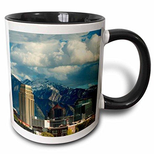 3dRose Danita Delimont - Utah - Salt Lake City with Wasatch Front, Utah, USA - US45 HGA0460 - Howie Garber - 15oz Two-Tone Black Mug ()