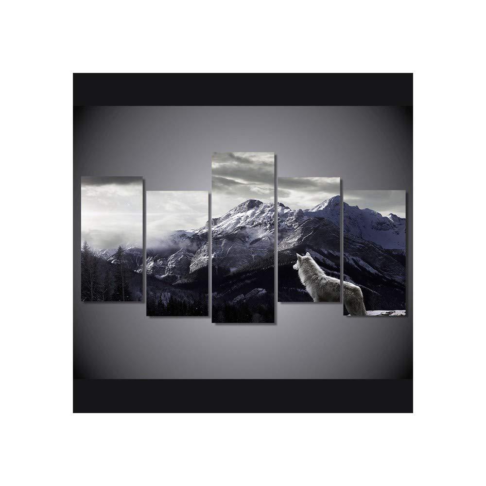 DYDONGWL Multi Panel HD Imprime Lienzo de Arte de la Pared Sala de Lienzo Estar Decoración para el hogar Fotos 5 Piezas Snow Mountain Plateau Lobo Pinturas de Animales Marco de Carteles, 30X40cmX2 30X60cmX2 3 c505cd