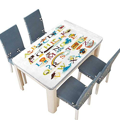 PINAFORE Jacquard Polyester Fabric Tablecloth English Pirate Alphabet Suitable for Home use W41 x L80.5 INCH (Elastic Edge)