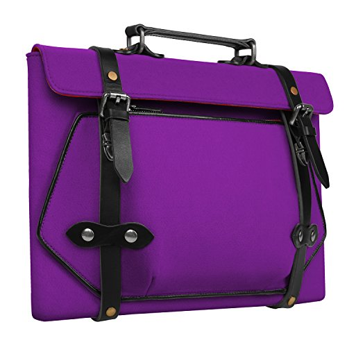 ELFRhino Laptop Sleeve Laptop Bag Briefcase Felt Macbook Pro Sleeve Case Genuine Leather Edge Laptop Protective Bag and Mouse Charger Accessory Bag for 13