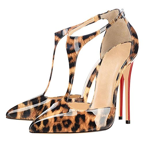 Solid Toe Pumps Ubeauty Brown Leopard T Stiletto Womens Ankle Sandals Court Strap Shoes strap Pointed Heels Size Big v4qvHx7