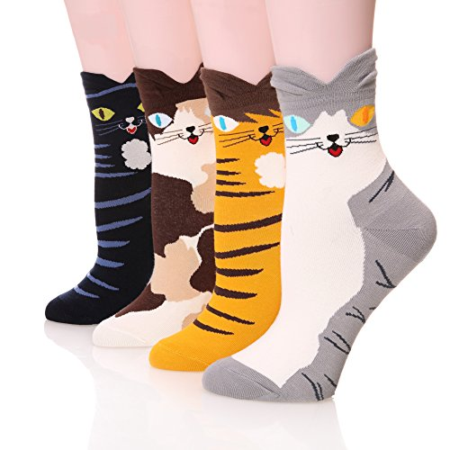 Velice 4 Pairs Soft Comfortable Novelty Cartoon Crew Pattern Cotton Socks