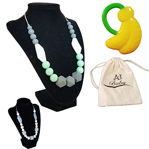 ANJ Baby Teething Necklace for Mom with Bonus Baby Teether  