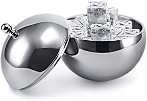 GWW Round Stainless Steel Ice Bucket,1l Double Wall Beverage Tub with Lid Cooler Bucket for Bar