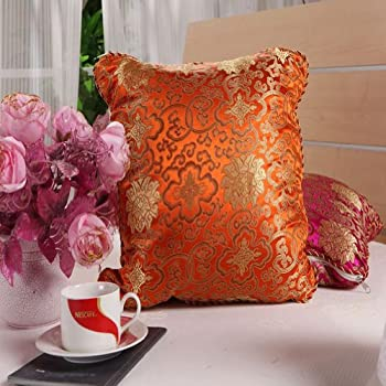 Yinglite Brocade Back Cushion and Quilt ,Lumbar Supports,back Braces,cushion Cover Throw Pillows Picture-weaving in Silk Brocade, Very Classical, Elegant, Festive(orange)