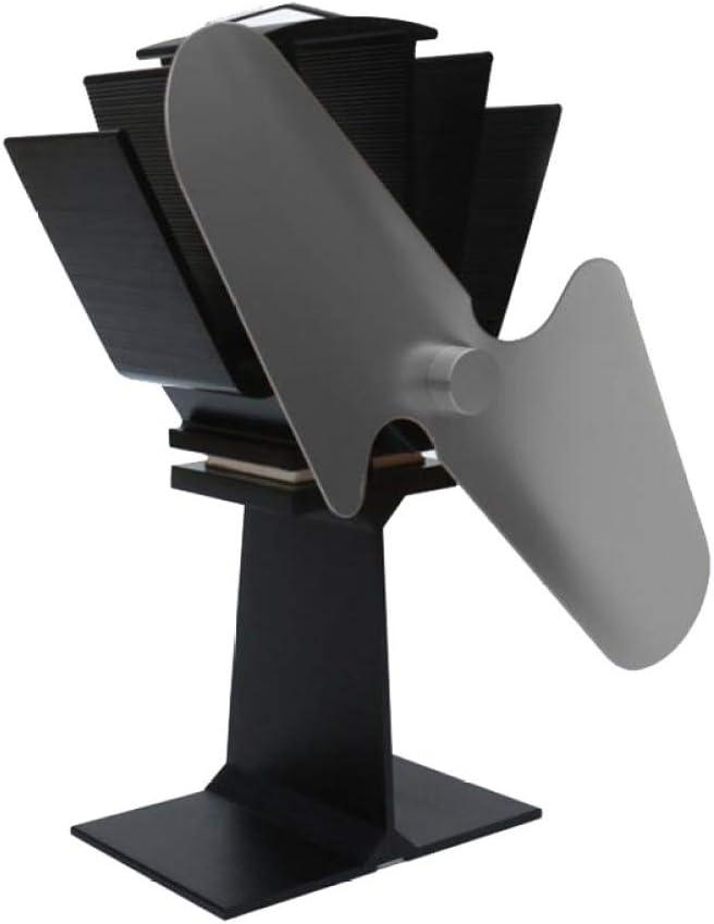 AOHMG Alimentado por Calor Ventilador Estufa Ventilador para Estufa, para Madera y Quemador de leña Aluminio silencioso y ecológico Estufa Chimenea Ventilador 2 Cuchillas,Black