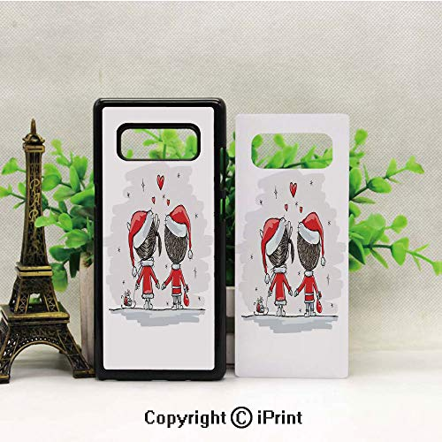Compatible for Samsung Galaxy Note 8 Case,Soul Mates Love with Santa Costume Family Romance Winter Night Picture Pattern Design Soft & Flexible TPU Ultra-Thin Shockproof Cover, Cases Note 8,Red White]()