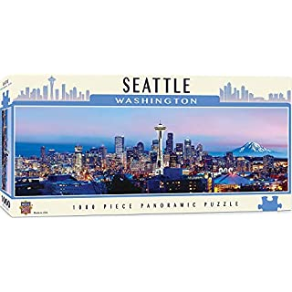 MasterPieces Cityscapes Panoramic Jigsaw Puzzle, Downtown Seattle, Washington, Photographs by James Blakeway, 1000 Pieces