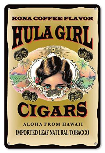 Hula Girl Cigars (Pacifica Island Art 8in x 12in Vintage Tin Sign - Hula Girl Brand Cigars - Kona Coffee Flavor - Aloha from Hawaii by Hula Girl)