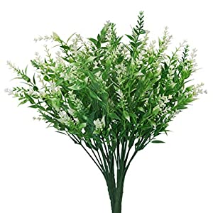 Artificial Plants Lavender Faux Breath UV Resistant Fake Shrubs Simulation Greenery Bushes House Office Garden Patio Indoor Outdoor Decor Wedding Table Flowers Arrangement Bouquet Filler - 4pcs 26