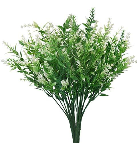 Artificial Plants Lavender Faux Breath UV Resistant Fake Shrubs Simulation Greenery Bushes House Office Garden Patio Indoor Outdoor Decor Wedding Table Flowers Arrangement Bouquet Filler - 4pcs