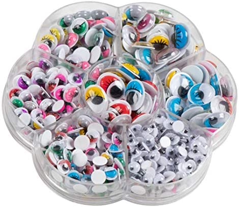 Googly Eyes - 500-Pack Adhesive Wiggle Eyes with Case, Moving Eyes, Art Craft Supplies, for DIY, School Projects, Toy Accessory, and Scrapbooking, Doll Making, Decoration, 3 Designs, 7 Sizes
