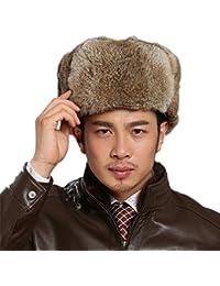 Trapper Hat Winter 100% Rabbit Fur Hair Winter Thicken Man Hunter Hat