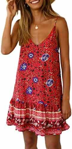 Asvivid Womens Casual Floral Printed V Neck Spaghettic Strap Ruffle Summer Loose Beach Mini Short Dress