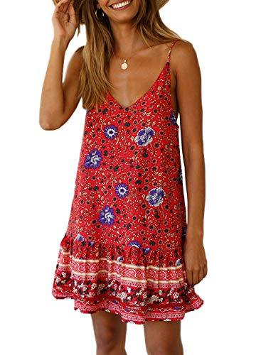 (Asvivid Womens Boho Flower Print Ruffle Spaghettic Strap V-Neck Holiday Swing A-Line Beach Dress Plus Size 1X Floral3)