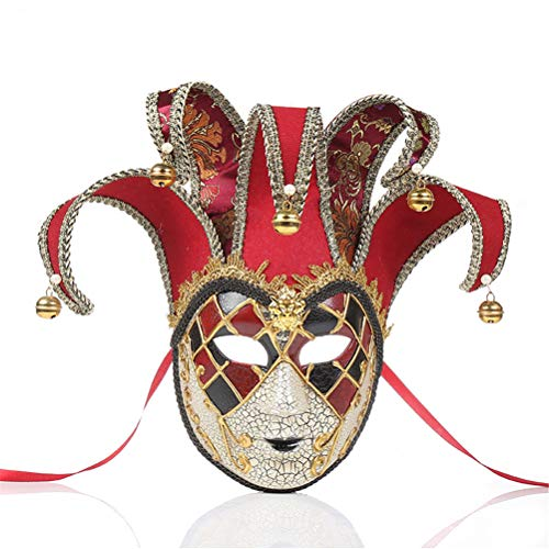 Xinjiahe Performance Mask, Jester Costume for Carnival, Masquerade Fancy Dress Accessories,One Size,Red]()