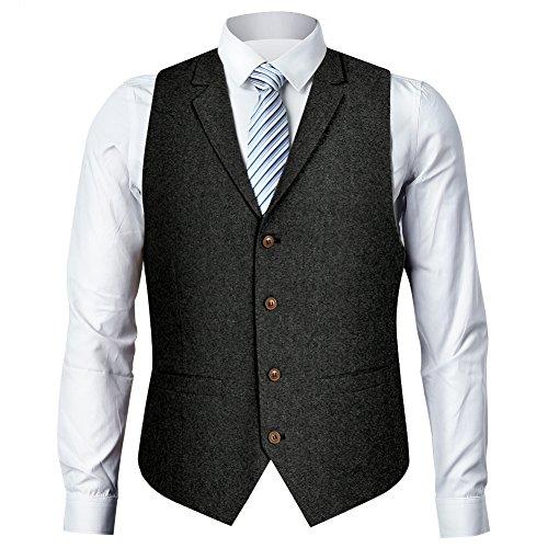 Zicac Men's Unique Advanced Custom Vest Skinny Wedding Dress Waistcoat (XL, Gray Lapel) ()