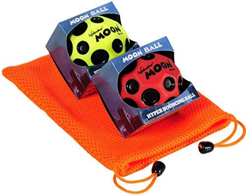 Waboba Moon Balls Bundle of 2, 1 Red & 1 Yellow, with Bonus Orange Mesh Drawstring Pouch || Bundled ()