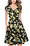 Misshow Women Summer Casual Dresses 1950s Floral Prints A Line Evening Swing Gown, Yellow Flower, S