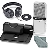 Samson Go Mic Portable USB Microphone for Mac & PC (Silver) and Accessory Bundle With Closed-Back Stereo Headphones + Fibertique Cleaning Cloth