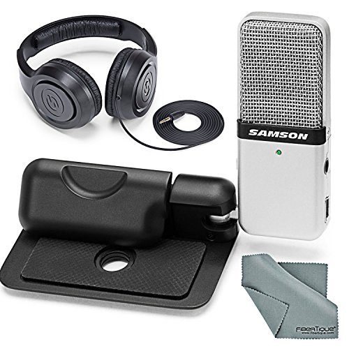(Samson Go Mic Portable USB Microphone for Mac & PC (Silver) and Accessory Bundle With Closed-Back Stereo Headphones + Fibertique Cleaning Cloth)