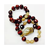 Set of 3 Handmade Bracelets - Red Tiger Eye, Amber Quartz & Citrine Natural Stones & Goldfilled Beads