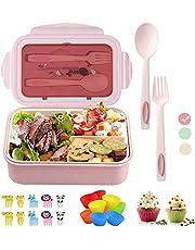 Bantine Lunchbox voor volwassenen en kinderen met vakken, bentobox met onderverdeling, duurzaam, lekvrij, vaatwasmachinebestendig, broodtrommel voor school, werk, picknick reizen
