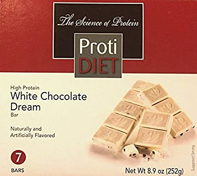 ProtiDiet High Protein White Chocolate Dream Bar - 7 servings - 10 grams protein per serving