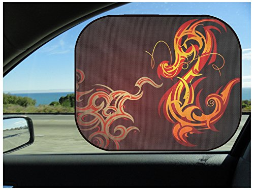 MSD Car Sun Shade Protector Side Window Block Damaging UV Rays Sunlight Heat for All Vehicles, 2 Pack Fire Breathing Decorative Dragon Shape on Black Image 10571134 Customized Tablemats ()