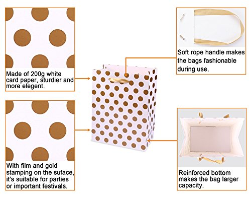 Gift Bags 8x4.75x10.5 Medium Paper Shopping Bags 12 Pack - 6 Gold and 6 Silver Gift Bags Polka Dot Perfect for Weddings, Birthday and Graduation Presents, Gift Wrap Bags by BagDream (Image #2)