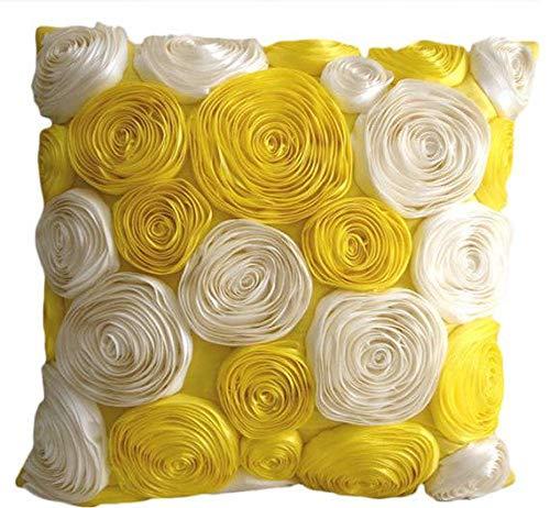 Luxury Yellow Throw Pillows Cover, Satin Ribbon Yellow Rose Flowers Pillows Cover, 16x16 Inch Throw Pillow Covers, Square Silk Pillow Covers, Floral Contemporary Pillows Cover - Sunny Yellow ()