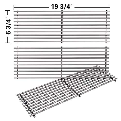 (SHINESTAR Stainless Steel Grill Grates Replacement for Chargriller 5050, 3001, 3008, 3030, 4000, 5252 Gas Grill & Charcoal Grill, King Griller 3008 5252, Set of 3 BBQ Cooking Grids (19 3/4