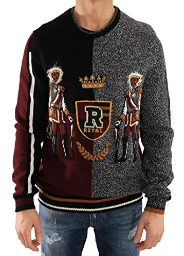 (Dolce & Gabbana Multicolor Knitted Cashmere Wool Sweater)