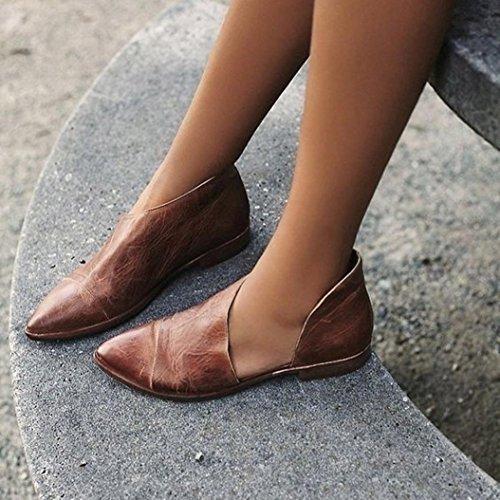 Damen Sandaletten Frühling Frauen Schuhe Pantoletten Nude Lässig Braun Ronamick Damen Flache Keilabsatz Sandalen Mode Spitz Schuhe RFwntOq