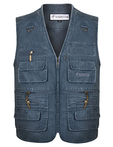 Gihuo Men's Casual Outdoor Leisure Lightweight Pockets Fishing Photo Journalist Denim Vest Plus Size (X-L, Blue) by Gihuo