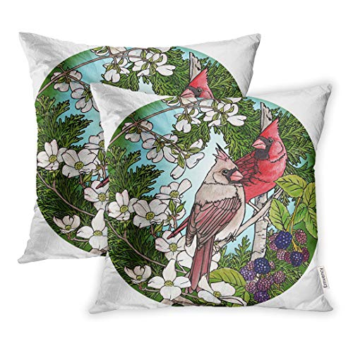 Emvency Set of 2 20x20 Inch Throw Pillow Covers Cases Watercolor Flower Cardinals Berries Blossoms Brown Bird Dogwood Male Tree Case Cover Cushion Two Sided - Dogwood Tree Berries