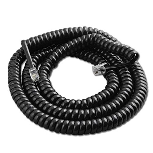 25' FT Telephone Handset Coiled Cord Black 4 COnducter RJ22 Plug Each End Curly Cord Pro Series UL RJ22 Plugs Each End RJ-22 4P4C Phone Line Telephone Hand-Set