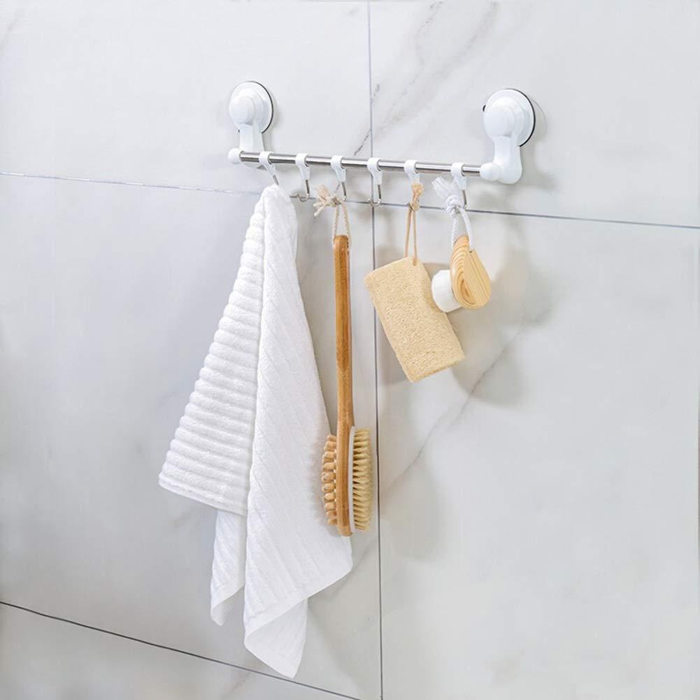 SPLY DTEM Stainless Steel Bathroom Shelf, Six Hook Towel Rack, Free Punching Tower Hanger