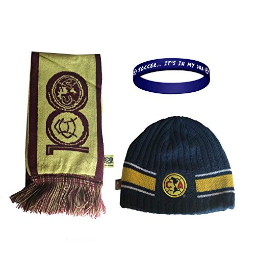 Club America Aguilas Mexico Soccer Set Beanie Skull Cap Hat and Scarf Reversible + Silicone Wristband Set 3 Pcs amer003