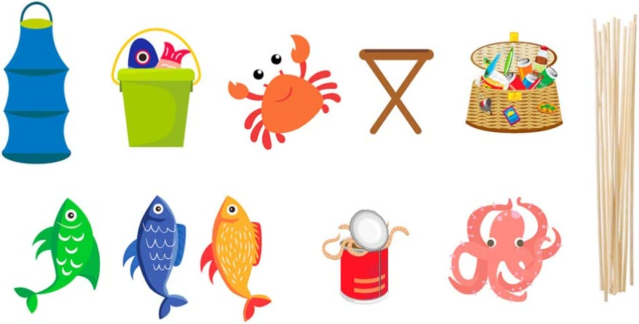 Amosfun Party Photo Booth Props Fishing Theme Handheld Selfie Posing Props for Halloween Christmas Birthday Party 30pcs