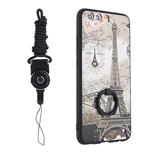 1 Plus Case 360 Design Cute Holder Tower And Ring Bumper P10 3 Huawei PATTERN Eiffel For TPU Protective Degree Rotating Lanyard Leaf Yhuisen Dress Cartoon Hard With FqvZq0g