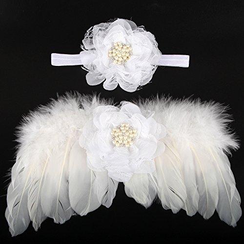 neaer pluma alas de ángel disfraz de fotografía de bebé recién nacido Bebés foto Prop, Blanco
